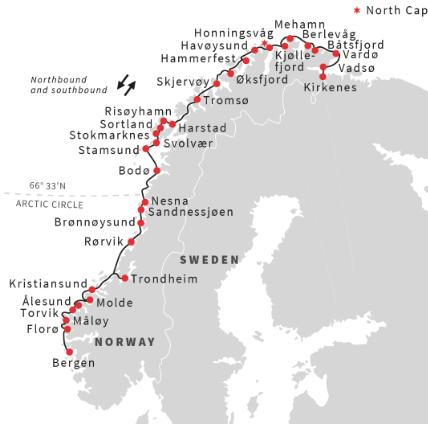 Round trip Norway - Bergen Kirkenes Bergen