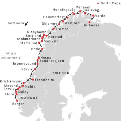 Southbound Cruise Kirkenes Bergen