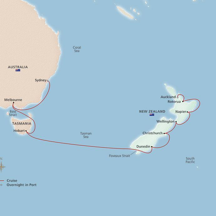 2019 Australia and New Zealand Itinerary Map